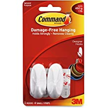3M Commercial Office Supply Div. Products - Hooks w/ Adhesive Strips, Small Designer, Hold 1lb, 2/PK, WE - Sold as 1 PK - Reusable plastic hooks with Command adhesive strips provide a mounting solution that holds firmly and removes cleanly, leaving no surface damage. Rearrange as often as you like. Each oblong hook holds up to 1 lb.