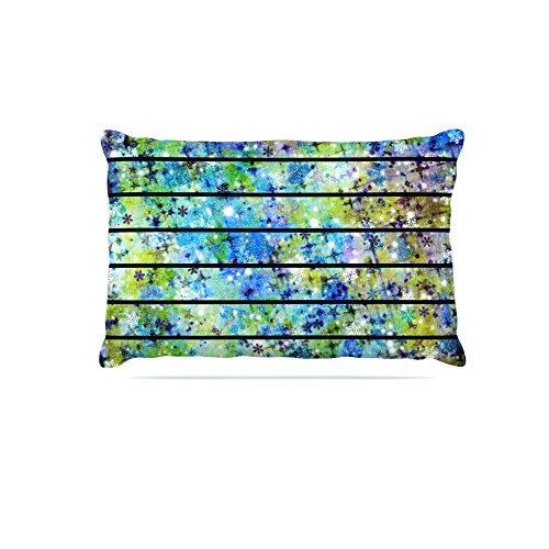 Kess InHouse Ebi Emporium Stripes & Snowflakes  Fleece Dog Bed, 50 by 60 , bluee Green