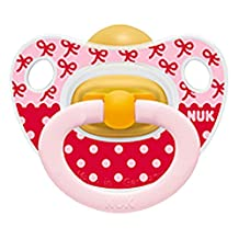 NUK Baby Pacifier 6-18 Months Natural Latex Girl Red Pink Dots Soother Newborn 4132-8