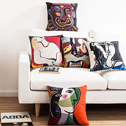 JWEK Funda de Almohada 5 Juegos de Funda de Almohada Decorativa Picasso Pintura Impresion Funda de cojin Cuadrado Sofa Funda de Almohada para el hogar 45X45 cm