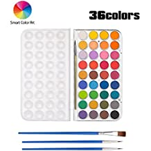 36 Watercolor Pan Set, Smart Color Art Watercolor Paint Set with 4 Brushes,Easy to Blend Colors, Perfect For Kids Adults