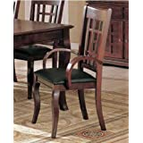 Set Of 2 Dining Arm Chairs Black Leather Like Rich Cherry Finish