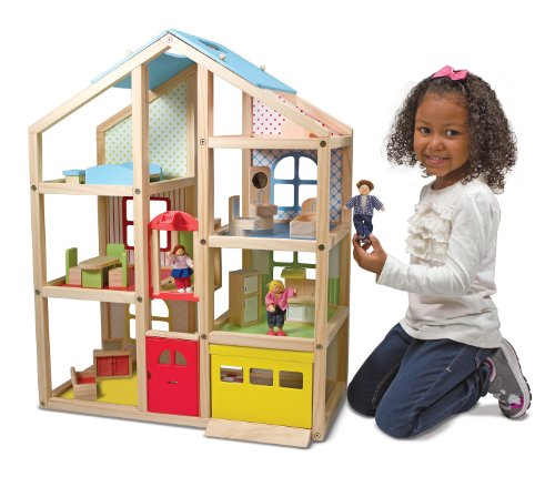 Melissa & Doug Hi-Fly Wooden Dollhouse With 15 pcs Furniture - Garage and Working Elevator
