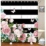 "Livilan Black White Stripes Shower Curtain Set with 12 Hooks Fabric Bath Curtains Pink Flowers Decorative Thick Bathroom Curtain 70.8"" x 70.8"""