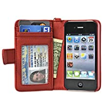 Navor Folio Wallet Case for iPhone 4 4S Pockets for Cards & Money, Clear Window Slot for License ID ( RED )