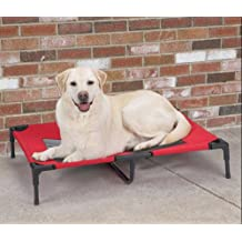 Elevated Pet Cot Steel-Framed Pet Dog Bed Removable Washable (Xlarge, Red)