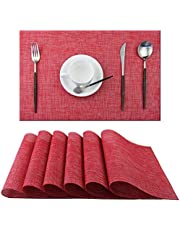 ADRIMER Set of 6 Placemats,Placemats for Dining Table,Heat-Resistant Placemats, Stain Resistant Washable PVC Table Mats,Kitchen Table mats, 30x45cm