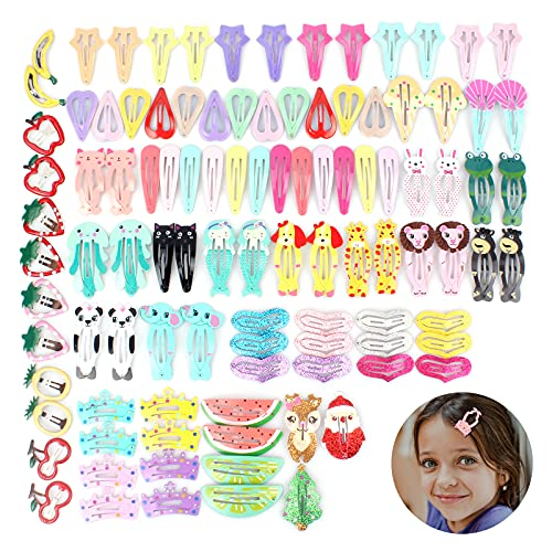 KORYCE Hair Clips for Girls Women, 103 PCS Candy Color Cute Hair Barrette Metal Snap Hair Clips for Kids Toddlers for Birthday Party Gift