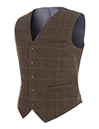 Solovedress Men's Casual Jacket Tux Vest Business Suit Vests Plaid Waistcoat