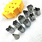 10PCS silver Color Stainless Steel Mini Vegetable Cutters Shapes Set cake ring mold Cookie Chocolate Cutters,Cooking Tools for Making Pancake Set Assorted Shapes Cake Mold