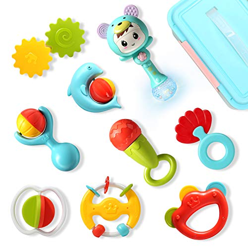 Cute Stone Baby Rattles Teethers Set, Rattle Shaker with Light and Music, Spin and Grab Rattles, Shaking Musical Rattles Toys Sets with Storage Box, Early Educational Toy Gift for Newborn Baby Toddler