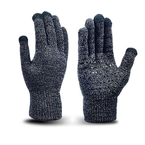 Chelii Mens&Womens Non-Slip Touchscreen Gloves Knit Texting Anti-Slip Silicone Gel, Elastic Cuff, Thermal Soft Wool Lining(Gray)