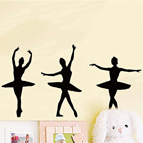 ufengke home Ballet Dancer Silhouette Wall Art Stickers for Girls Features Different Ballerina Poses Decorative Removable DIY Vinyl Wall Decals Dance Themed Mural in Living Room, Girl's Bedroom