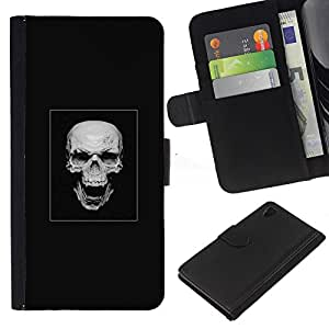 """A-type (Cráneo malvado de la risa"""") Colorida Impresión Funda Cuero Monedero Caja Bolsa Cubierta Caja Piel Card Slots Para Sony Xperia Z4v / Sony Xperia Z4 / E6508"""