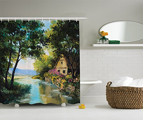 Ambesonne Lakehouse Decor Collection, Oil Painting View Rustic House near the River and Trees with Garden of Colorful Flowers Picture, Polyester Fabric Bathroom Shower Curtain, 75 Inches Long, (View Oil Painting)