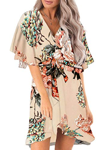 - Dokotoo Womens Summer Fashion Loose Floral Flower Print V Neck Short Ruffle Sleeve Wrap Midi Ruffle Mini Dress with Belts Apricot X-Large