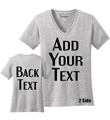 TEEAMORE Women Custom V Neck T Shirt Add Your Text Design Your Own Front Back Side (2XL, Ash)
