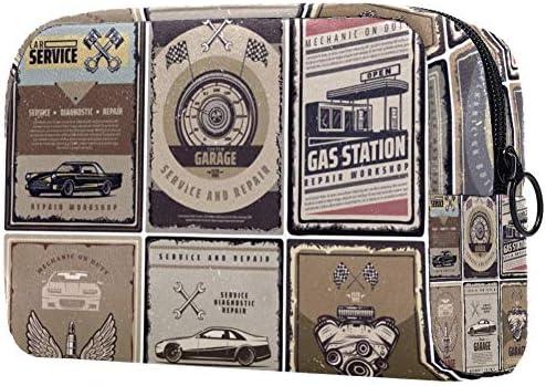 Gepersonaliseerde makeup borstels tas draagbare toilettassen voor vrouwen handtas cosmetische reisorganisator vintage auto service