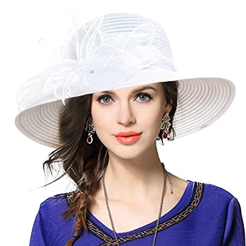 Kentucky Derby Dress Church Cloche Hat Sweet Cute Floral Bucket Hat (Leaf-White) -