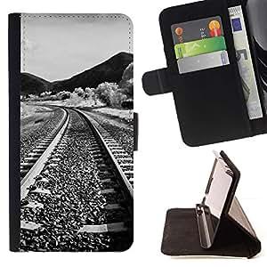 For HTC One Mini 2 M8 MINI Case , Naturaleza del ferrocarril- la tarjeta de Crédito Slots PU Funda de cuero Monedero caso cubierta de piel