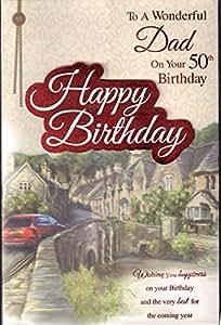 Dad 50th Tarjeta de cumpleaños–'en tu 50th cumpleaños Papá con amor'