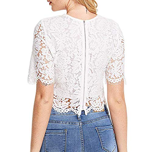 Sumtter Tops Perspective Corta Zipper Bianca Estivo Short shirt Camicie Donna T Pizzo Manica Con wZlPkXiOuT