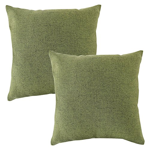 CHANODUG Linen Pillow Covers 20 x 20Inch Sets of 2 Spinach Green Decorative Square Throw Pillow Cover Cushion Case Sofa Durable Modern Stylish Linen Spinach Green Throw Cushion Covers Hidden Zipper