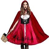 MAIPOETYRY Women's Plus Size Little Red Riding Hood Halloween Cosplay Costume Make up