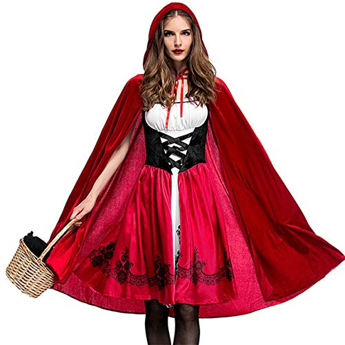 Aiybao Women's Little Red Riding Hood Halloween Cosplay Costume Make up Party Dress (Medium, Set1) for $<!--$26.99-->