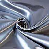 "Arts & Crafts : SOLID CREPE BACK SATIN FABRIC - Silver - 60"" WIDTH SOLD BTY POLYESTER SILK"