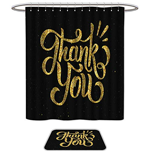 and Mat SetThank You Golden Handdrawn Lettering. Set of 2 Machine Washable ()