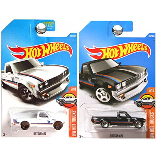 Hot Wheels 2017 Hot Trucks Datsun 620 Pickup Truck in White and Black SET OF 2