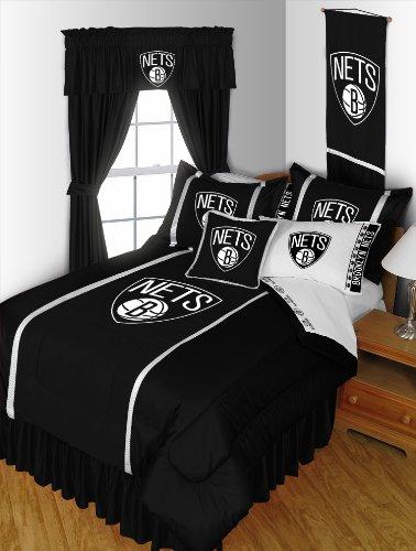 - Brooklyn Nets 5 Pc TWIN Comforter Set and One Matching Window Valance/Drape Set [84 Inch Drapes] (Comforter, 1 Flat Sheet, 1 Fitted Sheet, 1 Pillow Case, 1 Sham, 1 Matching Window Valance/Drape Set - 84
