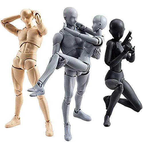 MiaoDuo Action Figures Body-Kun DX & Body-Chan DX PVC Model for SHF(Body Color Ver.) with Box (Female+Male) ()