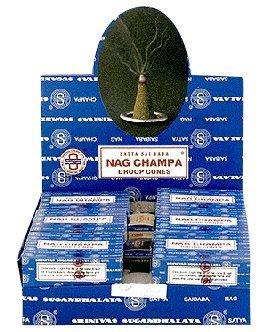 Nag Champa Incense Cones (Nag Champa Satya Sai Baba Temple Incense Cones Carton, 12)