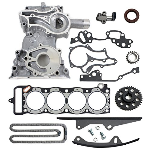 NEW TK10120TCHGG Timing Chain Kit (2 Heavy Duty Metal Guide Rails) with Timing Cover, & Graphite Head Gasket / 85-95 Toyota 2.4L 4Runner Pickup Celica 4-Cylinder SOHC 8-Valve Engine 22RE 22REC