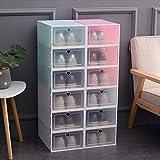 خزانة لتنظيم اﻷحذية من صناديق قابلة للجمع لون شفاف مع أدراج حاويات للمنزل مكونة من ٦ قطع (3 بلون أبيض و3 بلون زهري)