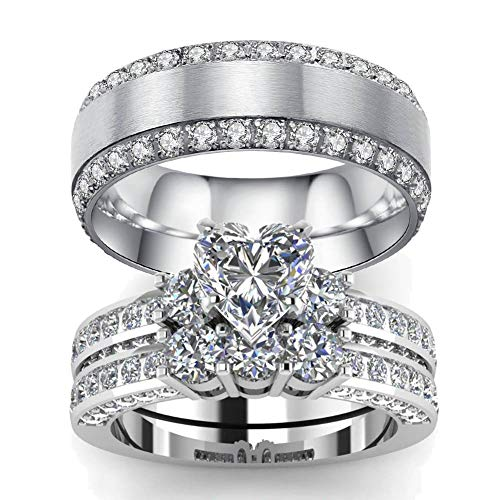 LOVERSRING 3pc His and Hers Couple Ring Bridal Set His Hers Women White Gold Filled Heart Cz Man Titanium Wedding Ring Band Set ()