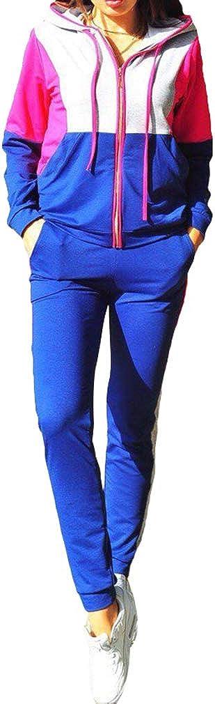 Kunfang Set di Abbigliamento Sportivo da Donna a Maniche Lunghe in Felpa con Cappuccio a Blocchi di Colore da 2 Pezzi