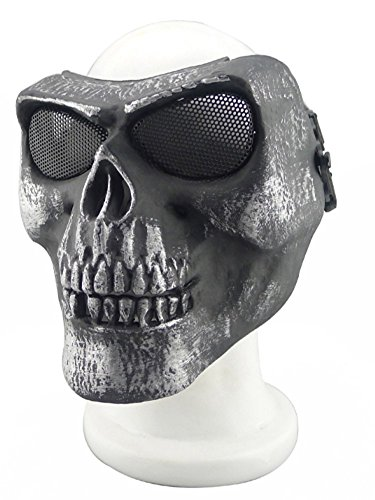 ISEYMI Metallic Mask For Bicycling/ Halloween/ Skull Skeleton/ Airsoft/ Paintball/ BB Gun, A Full Face Protection Mask Shot Helmets -