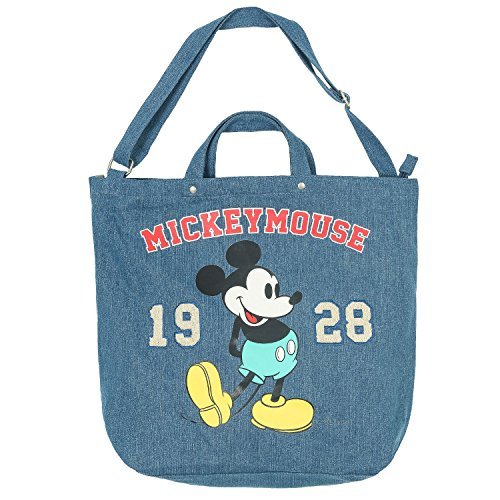 Mickey Denim - ililily Disney Mickey Mouse Print Solid Color Cotton Canvas Tote Bag , Denim Blue