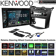 Kenwood DDX5706S DVD Receiver with Installation Kit and Wire Harness for 03-07 Honda Accord with Factory Climate Controls