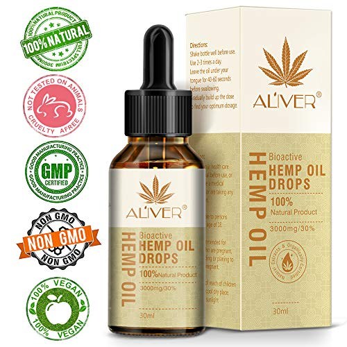 Hemp Oil 3000 mg,100% Natural Hemp Oil Drops for Pain, Anxiety & Stress Relief - Ingredients Organic Hemp Extract, Helps with Sleep, Skin & Hair (Best Oils For Stress)