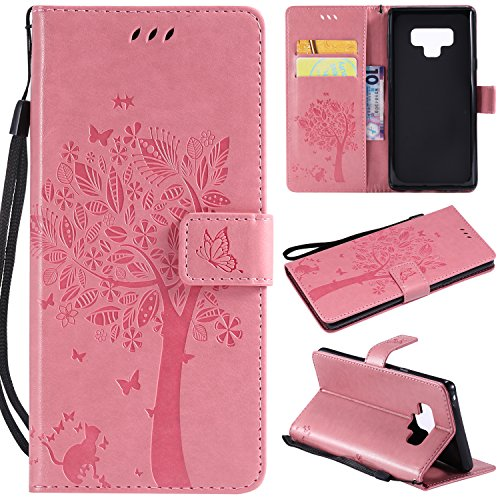 Price comparison product image Flip Wallet Case for LG V20, Gostyle LG V20 PU Leather Pink Case Embossed Tree Butterfly Flower Pattern, Bookstyle with Card Slots Magnetic Closure Stand Cover