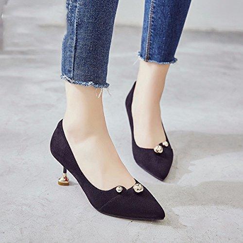 de pequeños alto de zapatos punta Version de Zapatos las mujeres retro tacon de coreana los nuevos de mujer zapatos Black zapatos zapatos JRFBA bien 0qvwR74R