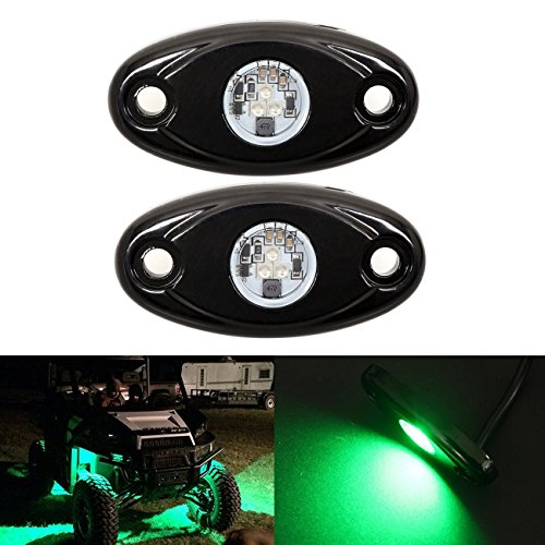 Kits JEEP ATV SUV Offroad Truck Boat Underbody Glow Trail Rig Lamp Waterproof (2PCS,Green) (Green Undercar Kit)