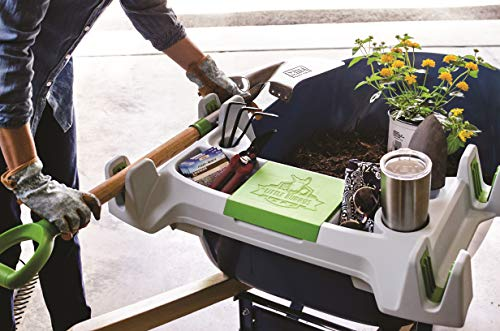 (The Burro Buddy, USA Made Lawn/Garden Tray for All 4-6 cu. ft. wheelbarrows. Holds rake, Shovel, Short Handle Tools, Drinks & Water Tight Storage for Phone. Wheelbarrow not Included. Great Gift!)