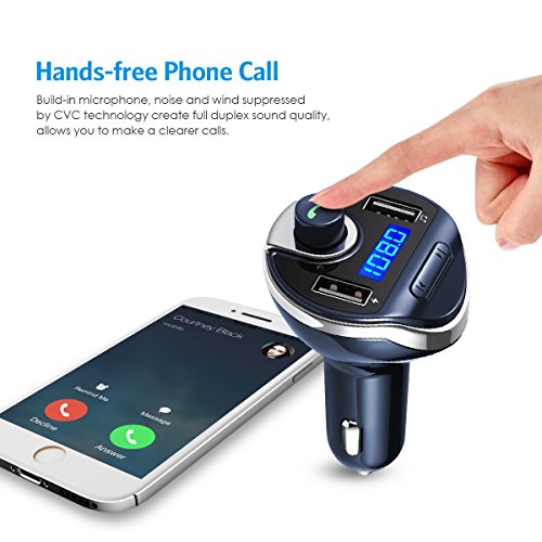 criacr bluetooth fm transmitter wireless in car radio. Black Bedroom Furniture Sets. Home Design Ideas