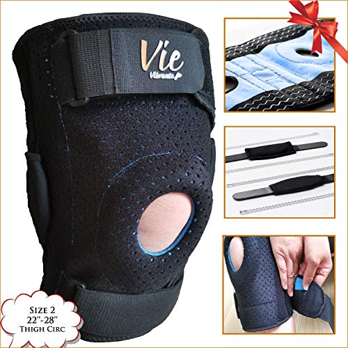 Plus Size Knee Brace Exclusive- Hinged Side Closing Design for Fast Wearing. Designed for Plus Size Men and Women, Provides Great Stabilization, Support, Non Slip & Non Bulky – Vievibrante 2