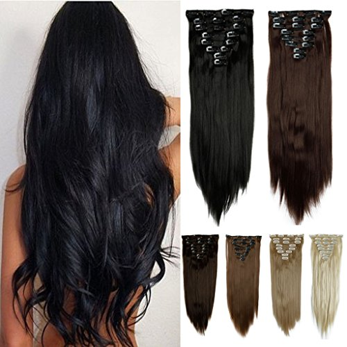 FUT 18 Clips in 8 Piece 3-5 Days Delivery 23inch 140g Straight Full Head Synthetic Hair Extensions for Girl Lady Women Natural Black ()